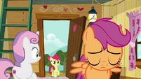 Apple Bloom entering the clubhouse S9E12