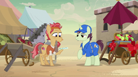 Delivery pony gives Elder Stallion a note from Daring Do S7E18