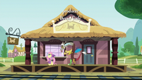 Discord sees Fluttershy off at the station S6E17