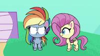 Fluttershy appears next to Rainbow PLS1E2b
