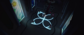 Four-pointed magic sigil lighting up MLPTM