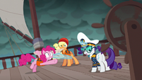 Pinkie Pie points to ship steering wheel S6E22