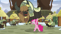 Pinkie looking for Maud under a yak S8E3
