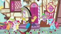 Ponies and Spike glaring at Discord S9E23