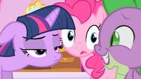 Twilight's reaction to Spike's crush on Rarity S1E20