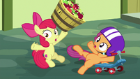 Apple Bloom and Scootaloo falling over S8E12