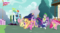 Main ponies and Luster enter Ponyville S9E26