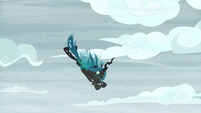 Queen Chrysalis dives toward the ground S9E8