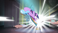 Rainbow trying to pull Twilight out of the comic book S4E06