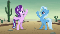 Starlight and Trixie stand on hind hooves S8E19