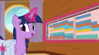 Twilight Sparkle displays schedule on the wall S7E22