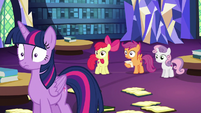 Twilight Sparkle drops her books in shock S6E19