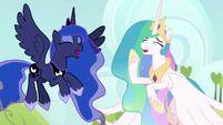 Celestia and Luna laughing together S9E13