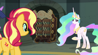Celestia next to the archives' mechanical catalog EGFF