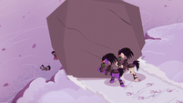 Crystal Ponies push giant boulder over a cliff S5E25