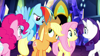 Main ponies look at each other in wonder S8E15