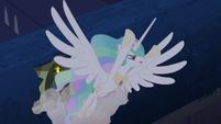 Princess Celestia escaping through roof 2 S4E02