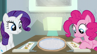Rarity and Pinkie looking at their food S6E12