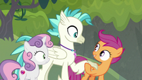 Scootaloo taking Terramar by the claw S8E6