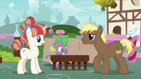 Spike pushes two table seats together S7E15