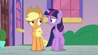 Twilight and Applejack look worried S8E21