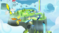 Wonderbolts flying over the academy S8E20