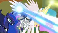 Celestia, Luna, and Star Swirl work together S9E2