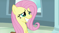 Fluttershy with an embarrassed grin S9E21