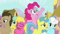 Pinkie Pie trying to get Twilight's attention S3E03