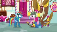 Rainbow Dash talking to Pinkie Pie S8E18