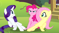 Pinkie Pie behind Rarity and Fluttershy S4E12