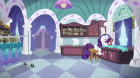 Rarity hard at work sewing S5E14