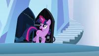 Twilight happily going through the door S3E2