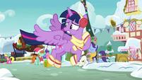 Twilight nervously flying through Ponyville MLPBGE