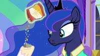 Celestia pours travel snacks into her hoof S9E13