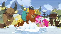 Pinkie Pie nudging Rutherford with her elbow S7E11