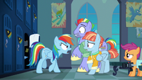 Rainbow Dash shouting at her parents S7E7