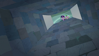 Twilight and Spike looking down the trapdoor S9E4