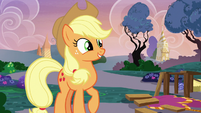 Applejack smiling near the disassembled runway S7E9