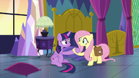 Fluttershy helps Twilight Sparkle off the floor S7E20