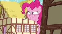 Pinkie Pie smirking at Rainbow Dash S7E23