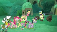 Ponies, Zecora, and Spike walking S5E26