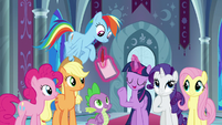 Twilight Sparkle takes out quill and pad S9E1