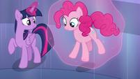 Twilight sets Pinkie on the ground S6E1