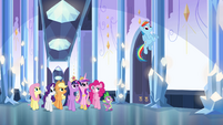 Main cast and Cadance walking in the palace EG