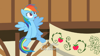 Rainbow Dash looks up at incoming lightning S2E14