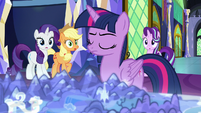 Rarity, AJ, and Star surprised by Twilight S9E1