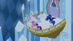 Twilight, Celestia, Luna, and Cadance on the balcony S4E25.png