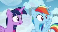 Twilight and Rainbow Dash hear Sky Stinger S6E24