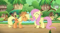 Applejack and Fluttershy laugh together S8E23
